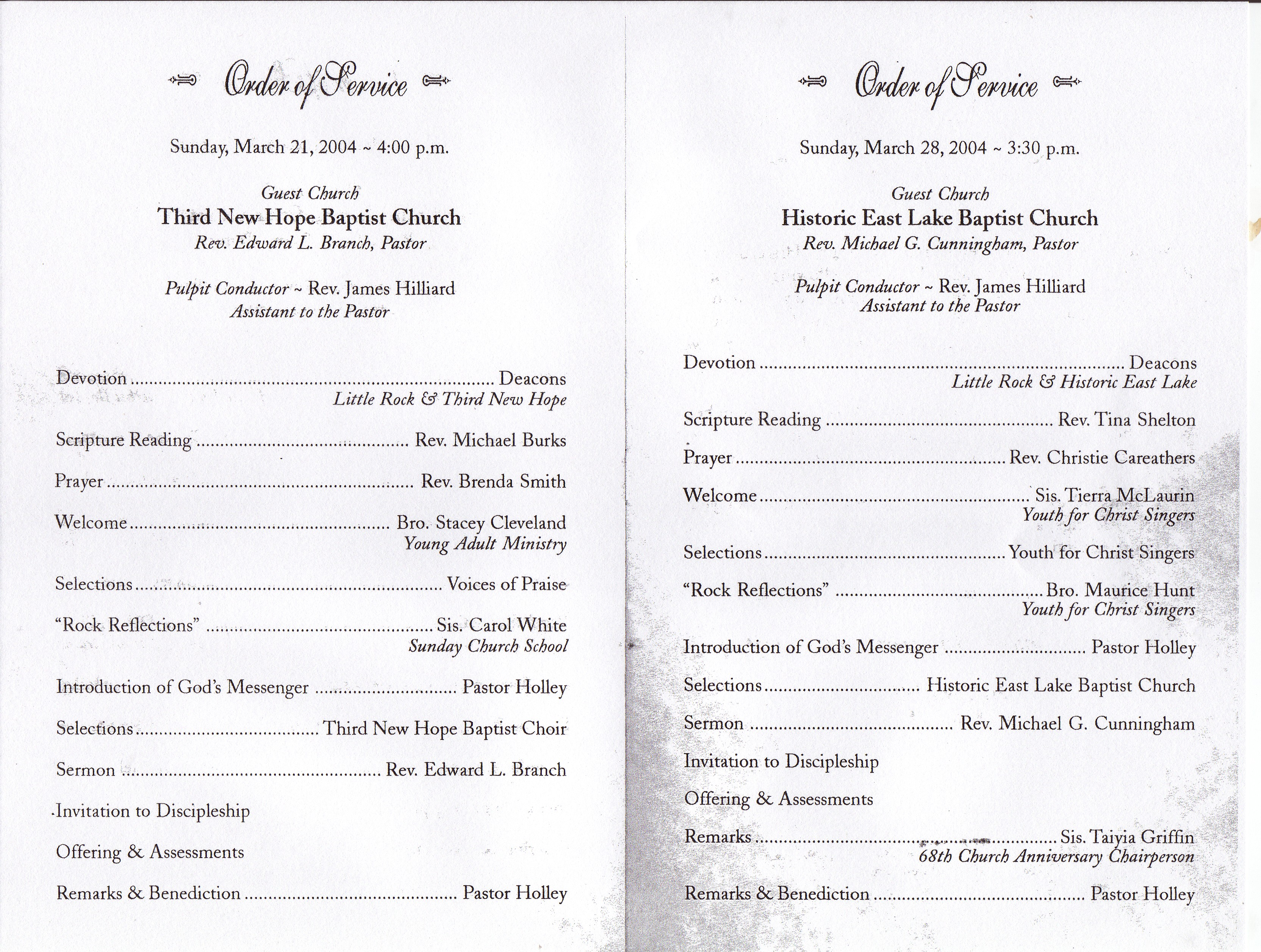 Little Rock Baptist Church: 68th Anniversary Services Program