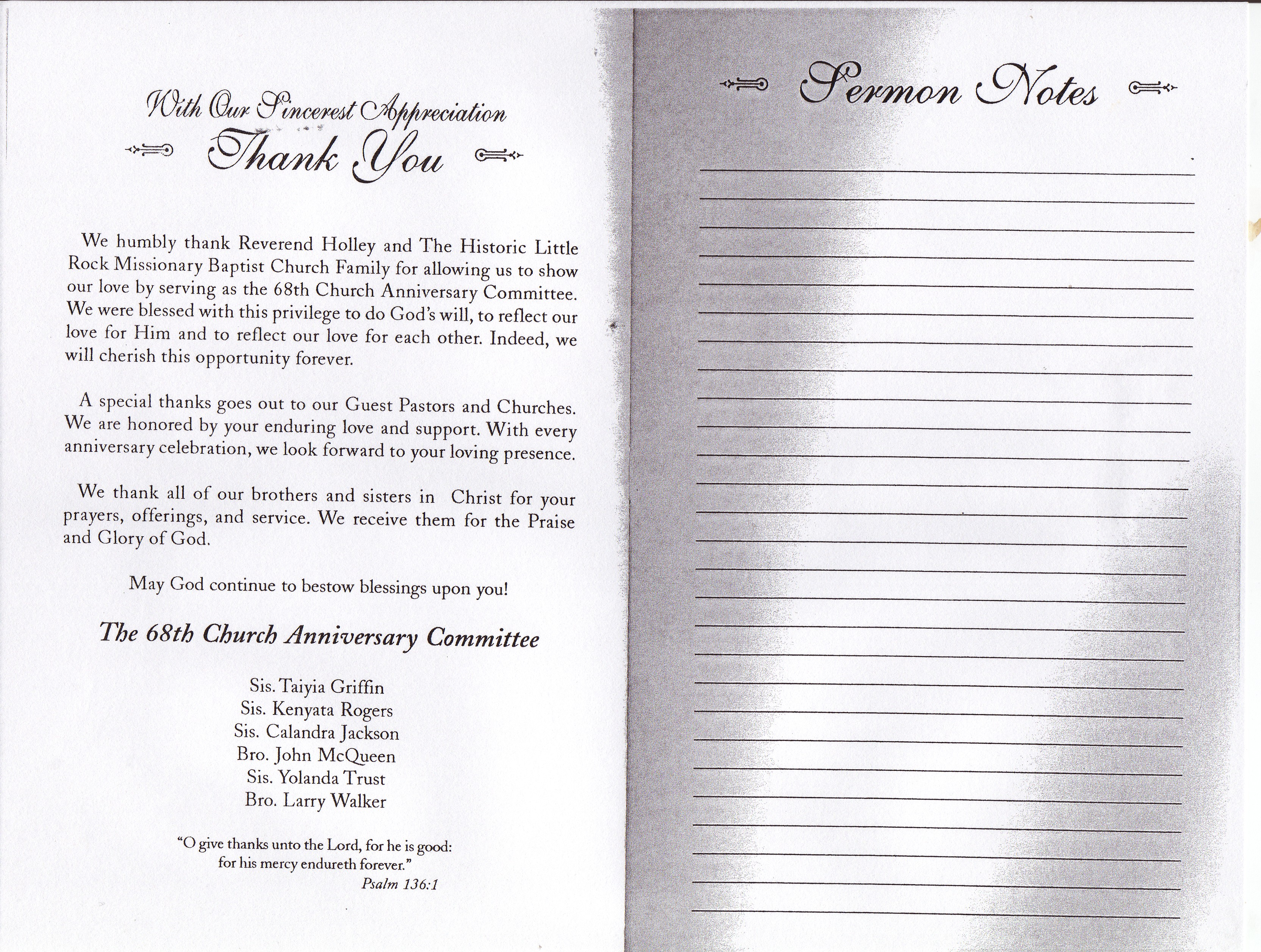 Church Anniversary Program