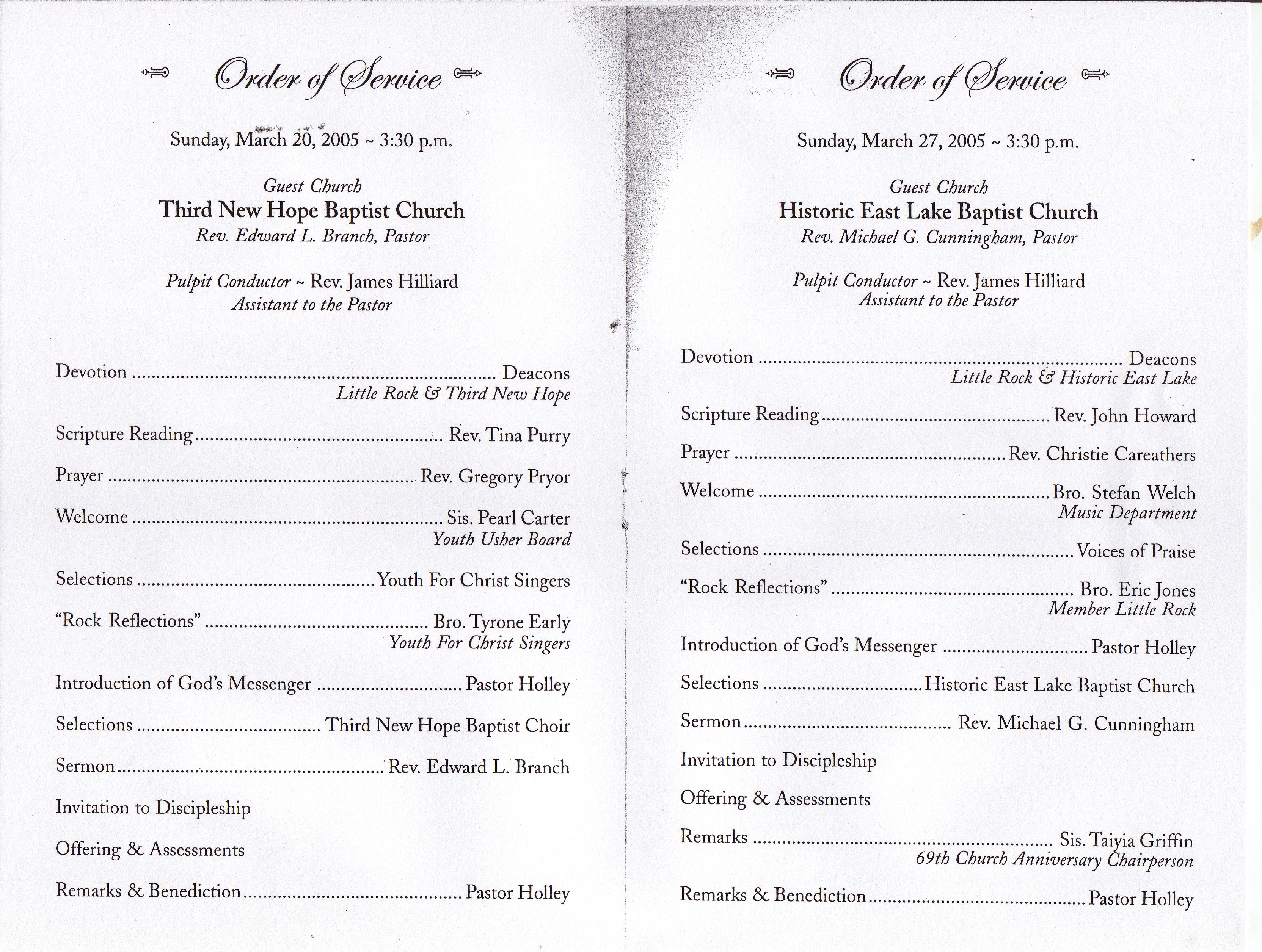 Baptist Church Anniversary Program