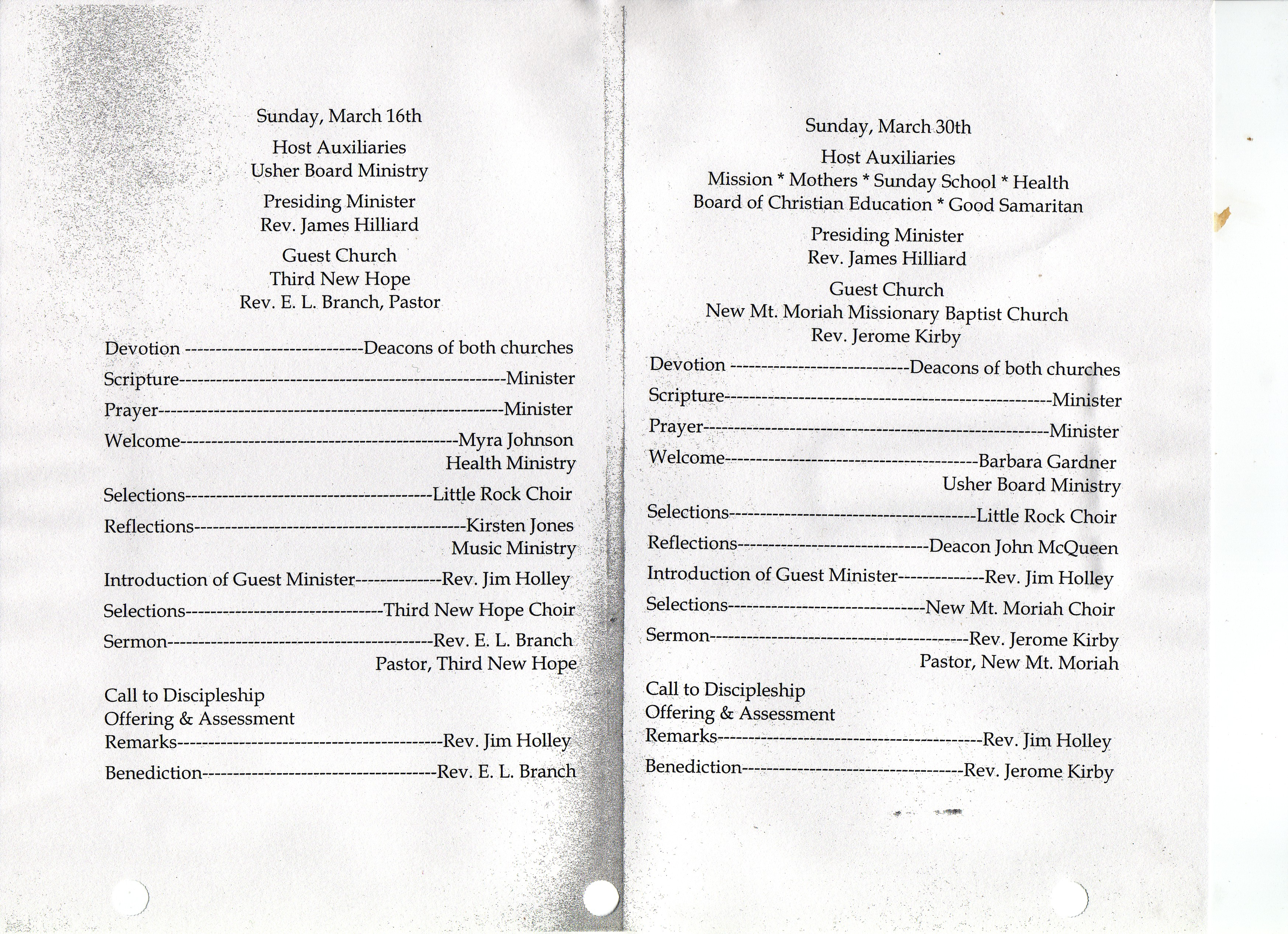 Little Rock Baptist Church: 72nd Anniversary Church Program