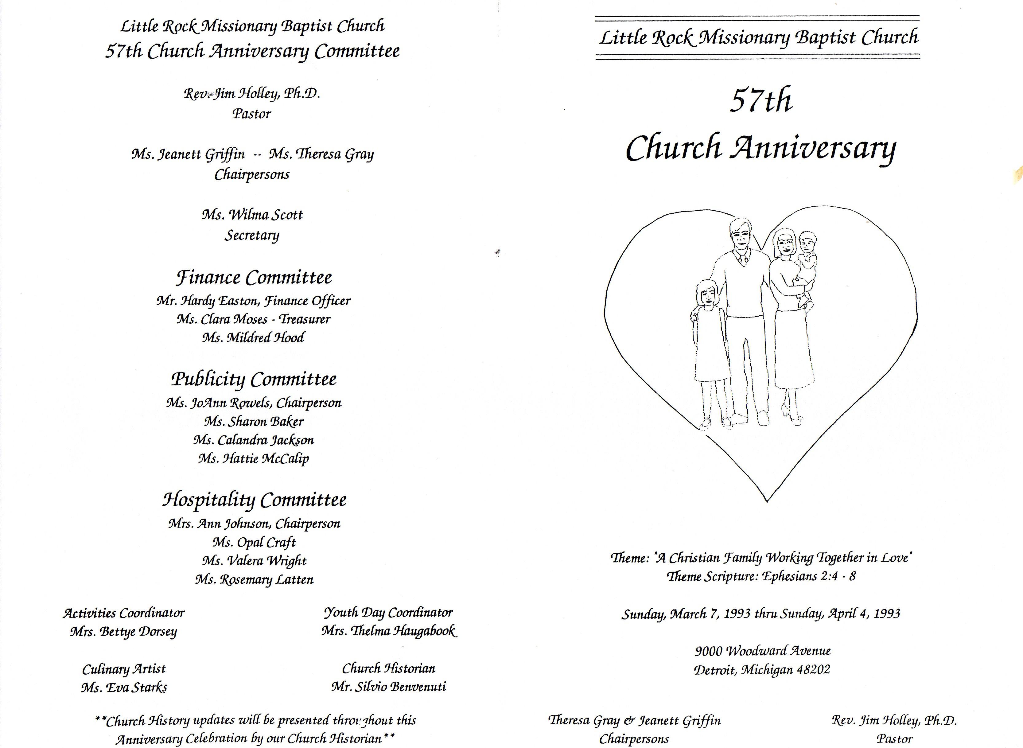 Little Rock Baptist Church 57th Anniversary Program