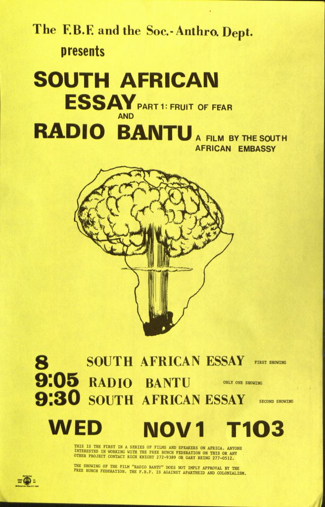 Examples Of Essay Papers South Africa Essay And Radio Bantu Science And Technology Essays also English Essays For High School Students African Activist Archive Importance Of Good Health Essay