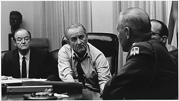 Hubert H. Humphrey, President Lyndon B. Johnson, General Creighton Abrams