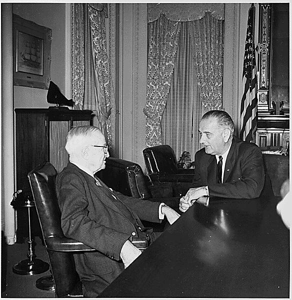 Former President Truman with President Lyndon B. Johnson