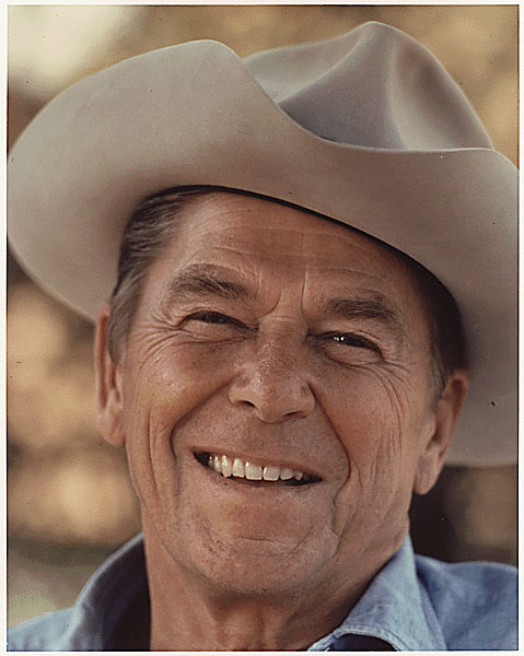Photograph of Ronald Reagan in a cowboy hat at Rancho Del Cielo
