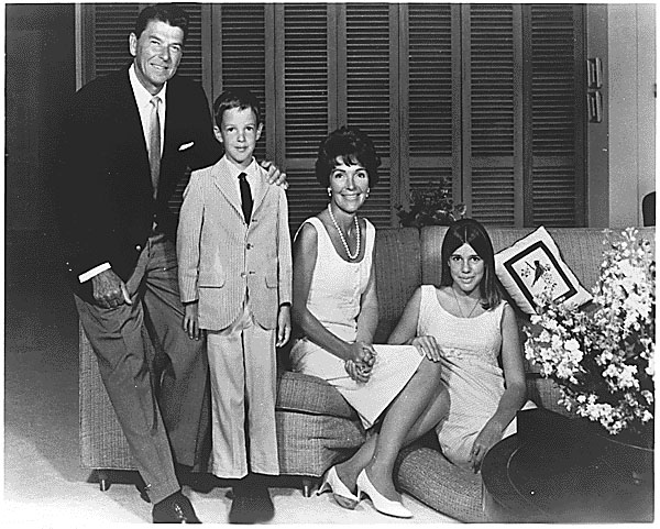 Photograph of Governor Ronald Reagan, Ron Junior, Mrs. Reagan, and Patti Davis