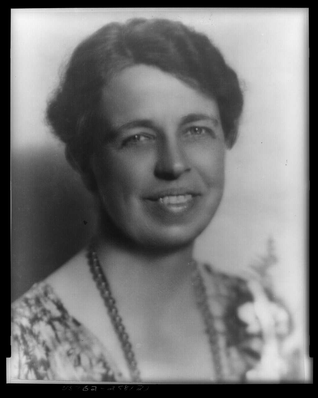 Mrs. Franklin Delano Roosevelt, head-and-shoulders portrait, facing slightly right