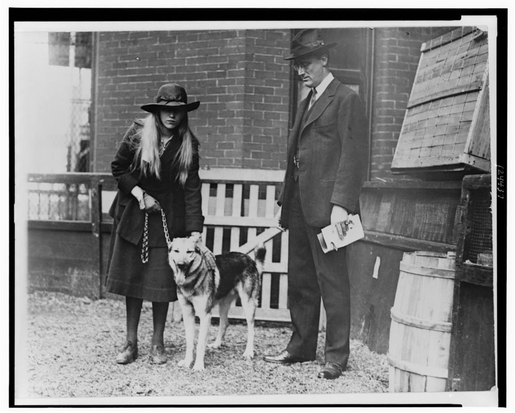 Franklin Roosevelt and his daughter, Anna, with their dog