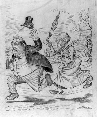 A Political Cartoon Featuring Grover Cleveland, Susan B. Anthony, and Uncle Sam